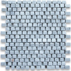 "Stone Center Corp - Carrara Marble Hand Clipped Mosaic Tile 3/4x3/4 Polished - Carrara white marble 3/4"" x 3/4"" handclipped / broken pattern pieces mounted on 12"" x 12"" sturdy mesh tile sheet"
