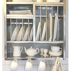 Middle Plate Rack - This is such a great solution for anyone (like me, sob) facing a kitchen without a dishwasher. Use the space above the sink to store and air dry dishes.