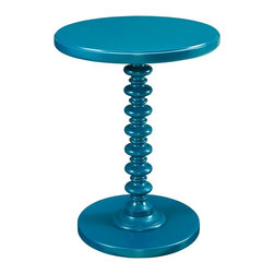 Powell Furniture - Round Spindle Table in Teal Finish - Sturdy, strong and durable. Bright and smooth finish. Trendy and stack designed base. Round edges. Classic style. Made from MDF with solid wood post and veneers. Minimal assembly required. 17 in. Dia. x 22 in. H (12 lbs.)Sized perfectly to sit next to your favorite chair or bedside, the table provides enough space for a lamp or to accommodate household items. A trendy, functional addition to your decor. Perfect for adding a pop of color to any room.