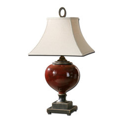 Uttermost - Anka Red Table Lamp - Burgundy, bronze and simply beautiful. This elegant table lamp has a lightly distressed burgundy base and sits on a dark bronze, two-tiered square bottom. And to top things off it has an off-white bell shade, making this lamp a real show-stopper in the sitting room, dining room or beyond.