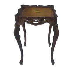 Golden Lotus - Handmade Wood Carving End Table / Plant Stand - This French style end table is made of solid wood and hand carved with pigeon and flowers graphic. This piece is at least 60 years old but still in good condition. It is an eye catching table to put either at home or in the office.