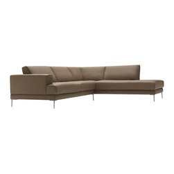VIG Furniture - Mirage Full Latte Top Grain Italian Leather Sectional Sofa - The Mirage sectional sofa will add a elegant modern touch to any decor it's placed in. This sectional comes fully upholstered in a beautiful latte top grain Italian leather. High density foam is placed within the cushions for added comfort. The sofa features a stylish sleek modern design that adds to the overall look. Attached to the bottom are stainless steel leg supports with a polished finish.