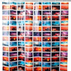 Splash Home - Skyfall 70-Inch x 72-Inch Shower Curtain - This vibrant curtain with its collage of breathtaking sunset images will create a vacation vibe in your bathroom year-round.