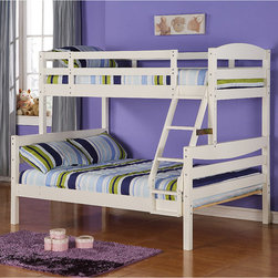 Walker Edison - White Wood Twin/ Double Bunk Bed - Save space and look stylish with these safe white wood bunk beds. Sleep soundly knowing there are full length guardrails on the top bunk, or convert them into two twin beds on the floor. No box spring is necessary and each bed holds 250 pounds.