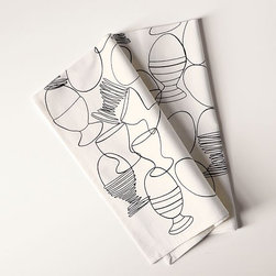 Egg Cup Tea Towel - Egg yourself on. Adorably whimsical line-drawn egg cups teeter and totter across pure cotton, adding some fun to the kitchen, especially when mixed and matched with the patterns of west elm's other tea towels.