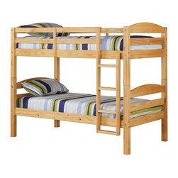 Walker Edison - Walker Edison Twin/Twin Solid Wood Bunk Bed - Natural X-LNTOTSWB - Beloved for it's compact foot print, this bunk bed is the perfect addition for any bedroom. Crafted from solid pine wood, this traditional bunk bed is functional, sturdy and exceptionally stylish. Features full length guardrails and an integrated ladder. A great solution for any space-saving needs, this bunk bed also easily converts into two individual beds for versatility.Features:&#8226: Stylish, traditional design&#8226: Solid hardwood construction&#8226: Rich, attractive finish&#8226: Easily and safely separates into two beds&#8226: Supports slats included, no box spring needed&#8226: Conforms to the latest consumer product safety standards&#8226: Ideal for space-saving needs&#8226: Maximum recommended upper mattress thickness of 9 in.&#8226: Each bunk supports 250 lbs.&#8226: Does NOT include mattresses or bedding&#8226: Ships ready-to-assemble with necessary hardware and tools&#8226: Assembly instructions included with toll-free number and online support