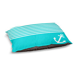 "DiaNoche Designs - Dog Pet Bed Fleece - Teal Love Anchor Nautical - DiaNoche Designs works with artists from around the world to bring unique, designer products to decorate all aspects of your home.  Our artistic Pet Beds will be the talk of every guest to visit your home!  BARK! BARK! BARK!  MEOW...  Meow...  Reallly means, ""Hey everybody!  Look at my cool bed!  Our Pet Beds are topped with a snuggly fuzzy coral fleece and a durable indoor our underside material.  Machine Wash upon arrival for maximum softness.  Made in USA."