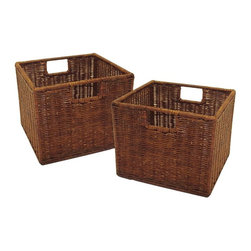 Winsome Wood - Small Storage Baskets - Set of 2 - This pair of small storage baskets is made of wicker for a strong, long lasting organization tool to keep your things in place. They are finished in a rich espresso color for a stylish touch to any design scheme. * Made from durable wicker. Fit in the Espresso Wide and Narrow Storage Shelves, also available. Rich Espresso Finish. H x W x D: 9.25 in. x 11 in. x 10 in.