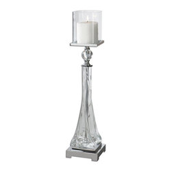 Carolyn Kinder - Carolyn Kinder Grancona Glass Candle Holder X-25891 - Thick, twisted glass base with polished nickel details and crystal accents. Off-white, distressed candle included.