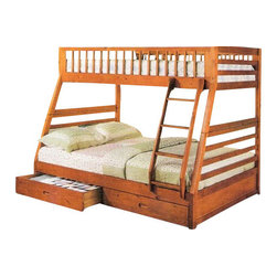 """Acme - Jason Honey Oak Finish Wood Twin Over Full Bunk Bed Set with Slide Out Drawers - Jason Honey Oak Finish Wood Twin Over Full Bunk Bed Set with Slide Out Drawers. This set features a Twin bed over a full size bed with 2 slide out drawers underneath with ladder on the side. Measures 79"""" x 57"""" x 65""""H. Some assembly required. Product info update """"this products ladder does not stop above the drawers like the photo it does continue down to the ground at an angle."""