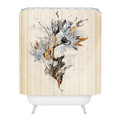 DENY Designs - Iveta Abolina Floral 1 Shower Curtain - Who says bathrooms can't be fun? To get the most bang for your buck, start with an artistic, inventive shower curtain. We've got endless options that will really make your bathroom pop. Heck, your guests may start spending a little extra time in there because of it!