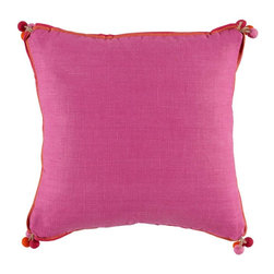 Lacefield Designs - Lacefield Designs Orchid, Spice & Fuschia Linen Pillow w/ Pom Poms - Orchid, Spice & Fuschia Linen 18 X 18 Pillow with Pom Poms and Double Flange