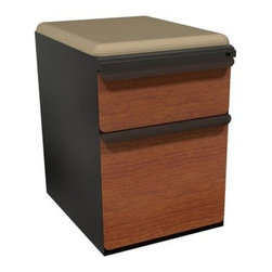 Mobile Pedestal with Flax Fabric Seat and Laminate Front File Drawer / Storage D - The Mobile Pedestal with Flax Fabric Seat and Laminate Front File Drawer / Storage Drawer - 19 in. has functional details like fabric handles and locking drawers for convenience and ease. Its flax, padded seat cushion means it also serves as a seat or footrest.