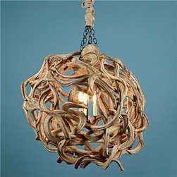 De Vine Wood Ball Chandelier - This light is made of woven twisted vines and is sure to be a great conversation piece. It would add a ton of texture and is definitely not a girly chandelier!