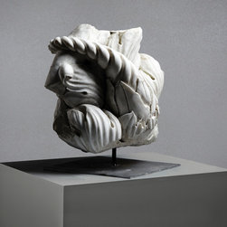 Roman Acanthus Leaves in Italian Marble - This graceful and organic sculpture of an Acanthus plant is expertly carved from fine Italian marble and is one of Lapicida's collection of pieces reclaimed and restored by expert stonemasons in Rome.