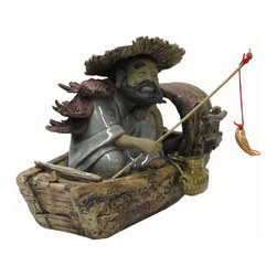 Golden Lotus - Chinese Hand Made Ceramic Fisherman Boat Figure - This is a competition piece of ceramic art contest in China. After the contest, the artist put the piece in the market for sell. This piece has precise facial expression and boat feature details.
