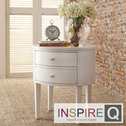 Inspire Q - Inspire Q Neo Oval Nightstand In White Color - Neo Oval Nightstand In White Color