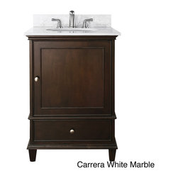 None - Avanity Windsor 24-inch Single Vanity in Walnut Finish with Sink and Top - Style your bathroom with this elegant single vanity. Constructed with solid poplar wood and veneers,this vanity has a beautiful walnut finish and would be a great addition to your home decor.