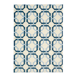 """Waverly - Waverly Artisanal Delight WAD09 2'6"""" x 8' Sky Area Rug 17633 - Add a transitional look to any room with this graphic Waverly Groovy Grille rug. A motif of interlocking circles and rounded squares creates a wonderful sense of depth while a palette born of clouds and sky adds a subtle yet trendy splash of color that will compliment nearly any color scheme."""