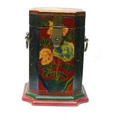 "Golden Lotus - Tibetan Flower Graphic Tall Square Box - Dimensions:   w8"" x d8""x  h10.5"""