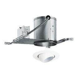 Juno Lighting Group - 6-inch Recessed Lighting Kit with Eyeball Trim - IC22/229WH - This recessed lighting kit features an air-tight installation that stops the infiltration and exfiltration of air, which reduces heating and cooling costs. The patented breakaway bars allow tight joist spacing and the bar hangers may be re-positioned 90 degrees. The housing measures 7-1/8 inches in height and 13-1/2-inches in width (reduces to 8-1/2 with breakaway feature) and can be completely covered with insulation. The white regressed eyeball interior directs the light right where it's needed. Takes (1) 75-watt halogen PAR30 bulb(s). Bulb(s) sold separately. Damp location rated.