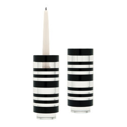 Lazy Susan - Lazy Susan Sliced Tuxedo Crystal Candleholder (Set of 2) - Large - Black and clear crystal is sliced and hand polished before being stacked to create an interesting visual contrast. The recessed base elevates the piece and allows light to flow through. Holds a taper candle or tea light. Set of 2