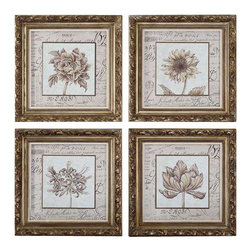 Uttermost French Florals Framed Art Set/4 - Antiqued gold leaf finish with bronze undertones and a gray wash. Frame features an antiqued gold leaf finish with bronze undertones and a gray wash. Prints are under glass.