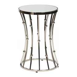BridgeBlue Sourcing Partners - Lucas Accent Table, Polished Nickel Finish - Lucas Accent Table featureing a wire and ball detailing with a mirrored top.