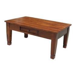 "San Miguel Coffee Table - This San Miguel Coffee Table is part of our newest lines of furniture. Clean lines, exclusive designs and as always, 100% Solid wood construction. The San Miguel line needs no introduction. This line stands alone from the rest with matching pieces available for Every room in your home. Click on ""collection"" to see more. No veneers are used, Only solid planks of wood with a soft hand-rubbed wax. This finish makes this piece a perfect accent to any Spanish Colonial or Tuscan decor. This coffee table has a drawer for convenient storage of the remote control, TV Guide or drink coasters. Be sure to check out the matching Console and End Tables."
