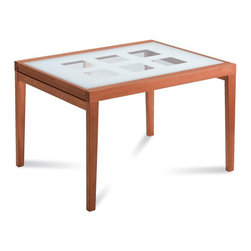 Domitalia - Poker-120 Rectangular Table - Cherry Frame - Screen Printed Glass Pattern Top - A simple glass top takes on a textural quality with screen printed glass pattern work revealing open squares that open table top to the floor below. Poker-120 is an extension table, expanding to 94.5in when fully extended. The rectangular table features a beechwood frame with tempered glass tops and is offered in three frame finishes. Select Cherry, Walnut Canaletto or Wenge finish.