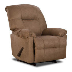 American Furniture - Calcutta Upholstered Chaise Rocker Recliner ( - Color: CamelCannot be shipped to California - not compliant with CA code. With arms. Upholstered. Pictured in Camel. 37 in. W x 37 in. D x 41 in. H (64.2 lbs.)