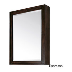 None - Avanity Madison 28-inch Beveled Mirror Cabinet in Light Espresso Finish - Add simple,clean style to your bathroom decor with the Modero 28-inch Mirror Cabinet. Available in light espresso or tobacco,this contemporary medicine cabinet features three interior glass shelves for storing small personal items.