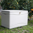Lifetime - Lifetime 80-Gallon Outdoor Storage Box - 60059 - Shop for Sheds and Storage from Hayneedle.com! About Lifetime ProductsOne of the largest manufacturers of blow-molded polyethylene folding tables and chairs and portable residential basketball equipment Lifetime Products also manufactures outdoor storage sheds utility trailers and lawn and garden items. Founded in 1972 by Barry Mower Lifetime Products operates out of Clearfield Utah and continues to apply innovation and cutting-edge technology in plastics and metals to create a family of affordable lifestyle products that feature superior strength and durability.