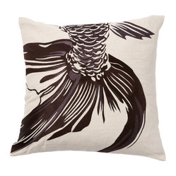 Emma at Home - Fishtail Pillow, Chocolate - The shimmery effect of this fish tail appears to be gliding through the water. It's an elegant design that adds a touch of the exotic to a room. Let it steal the show on a side chair or pair it with similar colors on your sofa.