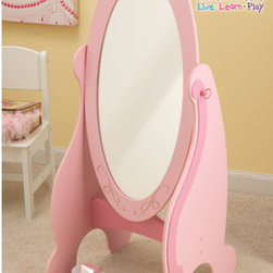 """KidKraft - Princess Cheval Mirror in Pink - Features: -Sturdy construction.-Free-standing mirror.-Kid-safe glass.-Long, shatterproof mirror made of acrylic plastic .-Frame Construction: MDF .-Mirror swivels, so it can be adjusted as needed .-Adorable crown artwork at the top  perfect for any young princess! .-Matches other KidKraft Princess bedroom items.-Gold crown accent.-Available in pink.-Overall dimensions: 40.55"""" H x 19"""" W x 16.14"""" D."""