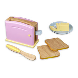 Gavino Pastel Toaster Set by Kidkraft - Children often want to help their parents in the kitchen. With our new Pastel Toaster Set your young helpers will be able to take care of the toast all on their own! The bright colors and rich details of this wooden 9-piece set are sure to keep imaginations running wild.