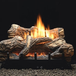 "Empire - White Mountain Hearth 24"" Flint Hill Log Set with Burner - Manual - LP - Now you can cozy up to your fireplace without having to worry about matches, wood and ashes. As long as you have a gas line (LP or NG) running to your existing fireplace, the Flint Hill Gas Log Set can be placed right into your fireplace. Flint Hill log sets feature richly detailed, hand-painted logs that are mounted on top of a vent-free contour burner. This complete set includes burner, logs, and glowing embers to add to the illusion of a real wood fire at any heat setting. The Flint Hill Gas Log Set requires a minimum firebox depth of only 12 inches, a perfect replacement log set, or can also be used for a newly constructed fireplace/firebox."