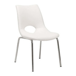 "Eurostyle - Eurostyle Lara Leatherette Side Chair w/ Chromed Steel Legs in White [Set of 2] - Leatherette Side Chair w/ Chromed Steel Legs in White belongs to Lara Collection by Eurostyle Soft leatherette over foam seat and back. Round, chromed steel legs. Fully-welded base. More colors. Seat height: 18"". Side Chair (2)"