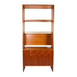 Pre-owned HG Stand Alone Wall Unit Room Divider Bookshelf - An HG stand alone wall unit By Hansen & Guldborg (HG) Furniture, Denmark. The unit functions as a room divider and a bookshelf. This gorgeous honey-toned walnut piece will play well with your other Danish Modern teak pieces. The drawers below conceal storage with an adjustable shelf and space for hanging files. It also features a drop down privacy screen. The cabinet slides into the frame to lock in on both sides. It is fully adjustable.