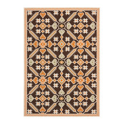 "Safavieh - Sabir Indoor/Outdoor Rug, Chocolate/Terracotta 4' X 5'7"" - Construction Method: Power Loomed. Country of Origin: Turkey. Care Instructions: Easy To Clean. Just Rinse With A Garden Hose. Coordinate indoor and outdoor spaces with pretty and practical area rugs from the Veranda collection in designs from mod florals to traditional classics. Power loomed of enhanced polypropylene for easy care whether used on you patio or family room floors, the large loop texture and soft hand of Veranda rugs belie their superb resistance to wear and weather."