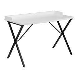 Flash Furniture - Flash Furniture White Computer Desk - NAN-2140-WH-GG - This large surface writing desk will provide you enough space for your laptop and writing materials. The protective ledge border will permit papers from easily falling off the edge of the table. The simple design of this desk allows it to easily fit into any work space. [NAN-2140-WH-GG]