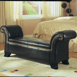 "Acme Furniture - Rolled Arm Bench in Bycast PU - Rolled Arm Bench in Bycast PU; Finish: Black; Dimensions: 66"" x 18"" x 28""H"