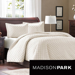 Madison Park - Madison Park Bailey 3-piece Coverlet Set - The Madison Park Bailey Coverlet Collection combines style and comfort. The top of the bed features a 200 gsm polyester mink fabrication with all over quilting for an incredibly soft and warm coverlet to keep you warm all year long.