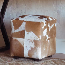 Pony Patch Ottoman - Add a dash of refined rustic chic to your home with this patchwork ponyhair ottoman. Use it to prop your feet or as extra seating.