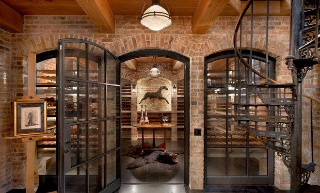 Traditional Wine Cellar by Wells & Fox
