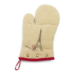 Eiffel Tower Vintage-Inspired Burlap Oven Mitt - I'll always remember my last trip to Paris, and Sur La Table's Eiffel Tower vintage-inspired oven mitt is just the thing to help me hold on to memories of my experience there.