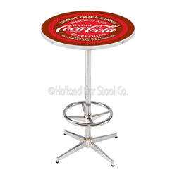 Holland Bar Stool - Holland Bar Stool L216 - 42 Inch Chrome Coca-Cola Pub Table W/ Burgundy Accent - L216 - 42 Inch Chrome Coca-Cola Pub Table W/ Burgundy Accent  belongs to Coca-Cola Collection by Holland Bar Stool Made for the ultimate Coca-Cola enthusiast, impress your buddies with this knockout from Holland Bar Stool. This L216 Coca-Cola table with retro inspried base provides a quality piece to for your Man Cave. You can't find a higher quality logo table on the market. The plating grade steel used to build the frame ensures it will withstand the abuse of the rowdiest of friends for years to come. The structure is triple chrome plated to ensure a rich, sleek, long lasting finish. If you're finishing your bar or game room, do it right with a table from Holland Bar Stool.  Pub Table (1)