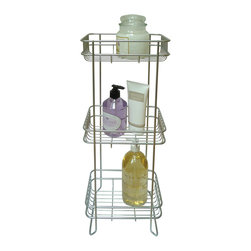 None - Bath Storage Tower - Keep your shampoo,shower gels,and lotions all organized with this bath storage tower. Constructed of coated steel in a E-chrome finish that is protected against rust,this tower has all three shelves designed for oversized bathroom items.