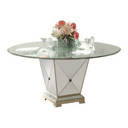 Basett Mirror - Borghese Mirrored Pedestal Dining Base - Handworked and beveled antique mirror over veneers and hardwood solids and antique silver finish. All mirror edges are encapsulated in a wood frame. Measures: 22 in. W x 22 in. D x 29 in. H.