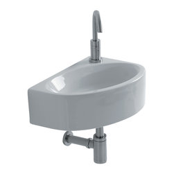 "WS Bath Collections - Mega WSB5701F Wall Mounted Bathroom Sink 16.5"" x 11.6"" - Mega WS05701F, 16.5"" x 11.6"" x 5.3"", Wall Mounted Bathroom Sink in Ceramic White"
